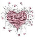 Bügelbild Applikation Herz 20 x 21cm Farbe: Dark Pink-Silber