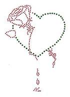 Bügelbild Applikation Herz mit Rose 12 x 17cm Farbe: Grün-Rot
