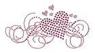 Bügelbild Applikation Herz 19,5 x 10cm Farbe: Dark Pink