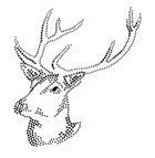 Bügelbild Applikation Studs Hirsch 13,5 x 14,5cm