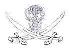 Bügelbild Strass Skull mit Säbel 15,5 x 10,5cm Farbe: Crystall-Schwarz