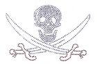 Bügelbild Strass Skull mit Säbel 15,5 x 10,5cm Farbe: Crystall-Braun