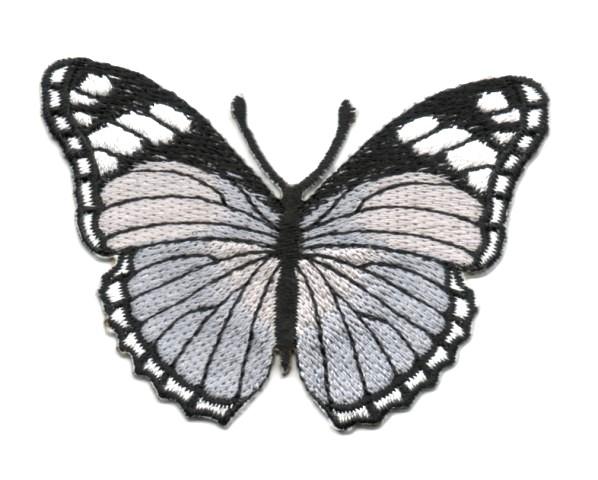 Applikation Patch Schmetterling 7,3 x 5,5cm Farbe: Grau