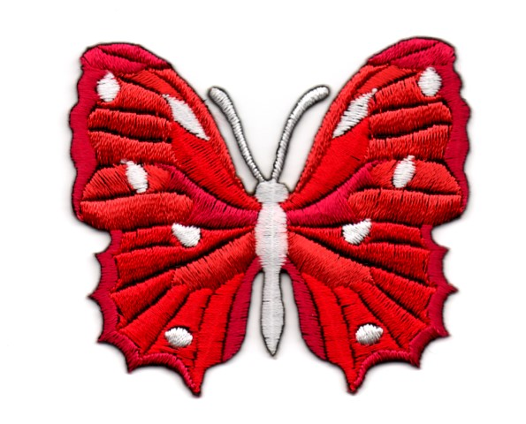 Applikation Patch Schmetterling 6,5 x 5,5cm Farbe: Rot