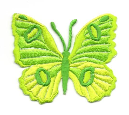 Applikation Patch Schmetterling 6,7 x 5,7cm Farbe: Neongrün