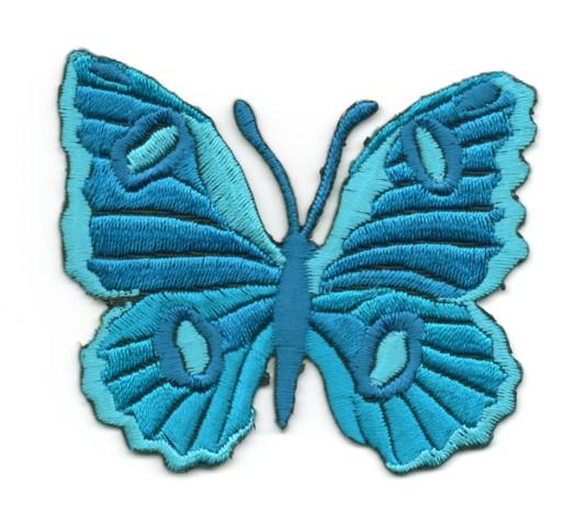 Applikation Patch Schmetterling 6,7 x 5,7cm Farbe: Blau-Grün