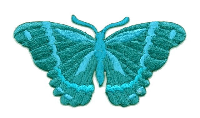 Applikation Patch Schmetterling 8,3 x 4,5cm Farbe: Blau-Grün