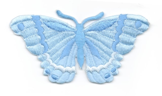Applikation Patch Schmetterling 8,3 x 4,5cm Farbe: Hellblau