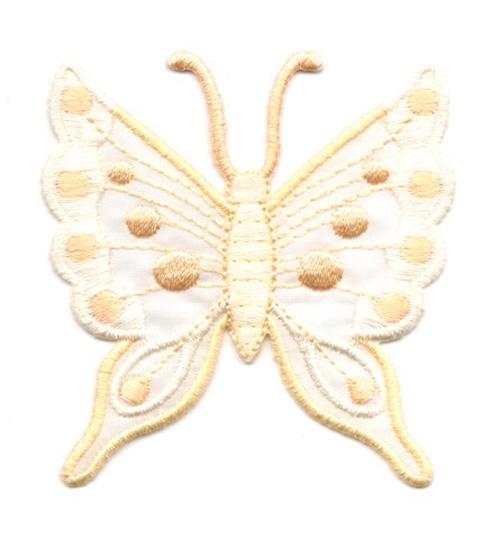 Applikation Patch Schmetterling 6,3 x 6,7cm Farbe: Beige