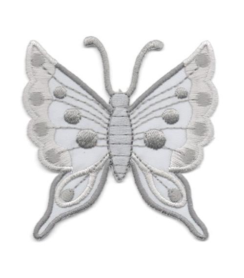 Applikation Patch Schmetterling 6,3 x 6,7cm Farbe: Grau