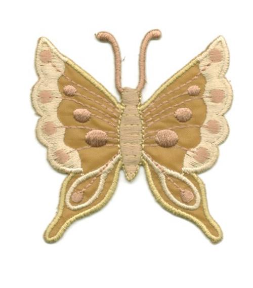 Applikation Patch Schmetterling 6,3 x 6,7cm Farbe: Hellbraun
