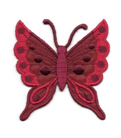 Applikation Patch Schmetterling 6,3 x 6,7cm Farbe: Dunkelrot