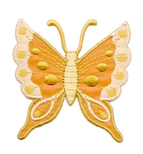 Applikation Patch Schmetterling 6,3 x 6,7cm Farbe: Ocker