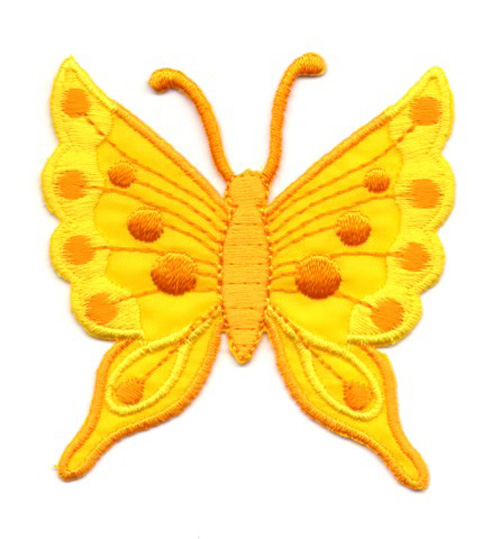 Applikation Patch Schmetterling 6,3 x 6,7cm Farbe: Gelb