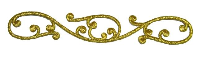 1 Applikationen Sticker Patch 13,5 x 2,5cm Farbe: Lurex-Gold
