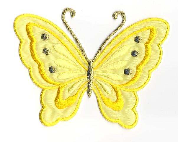 Applikation Patch Schmetterling 10,8 x 8cm Farbe: Sonnengelb
