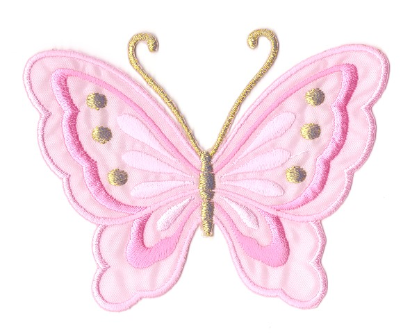 Applikation Patch Schmetterling 10,8 x 8cm Farbe: Pink