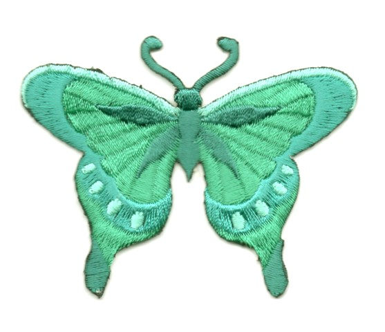 Applikation Patch Schmetterling 8 x 6cm Farbe: Grün-Blau