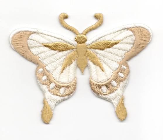 Applikation Patch Schmetterling 8 x 6cm Farbe: Hellbraun