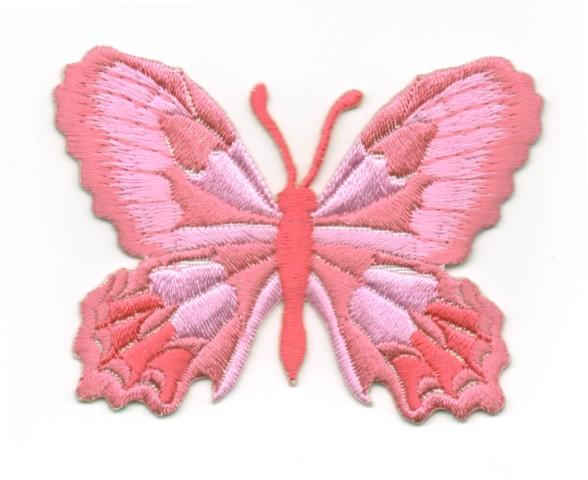 Applikation Patch Schmetterling 7,5 x 5,5cm Farbe: Rosa dunkel