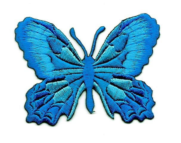 Applikation Patch Schmetterling 7,5 x 5,5cm Farbe: Blau