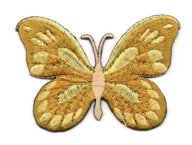 Applikation Patch Schmetterling 7,5x5,5cm Farbe: Ocker