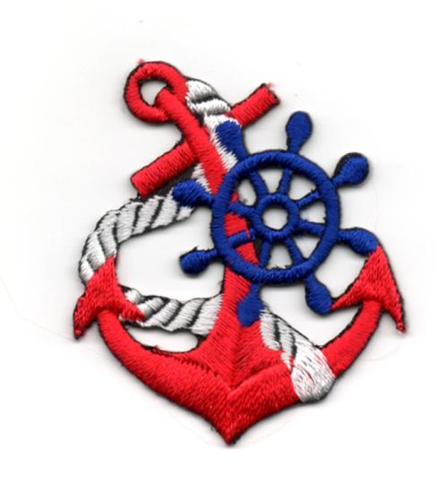 Applikation Patch Nautikabzeichen Anker 5 x 4,5cm Farbe: Rot-Blau
