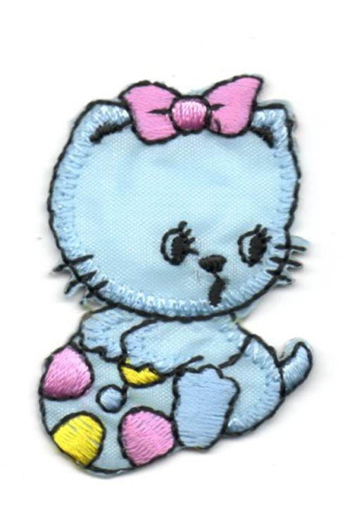 Applikation Sticker Katze 3 x 4,5cm Farbe: Hellblau-Gelb-Pink