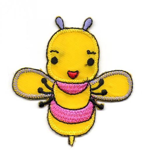 Applikation Sticker Biene 5,7 x 6cm Farbe: Gelb-Pink