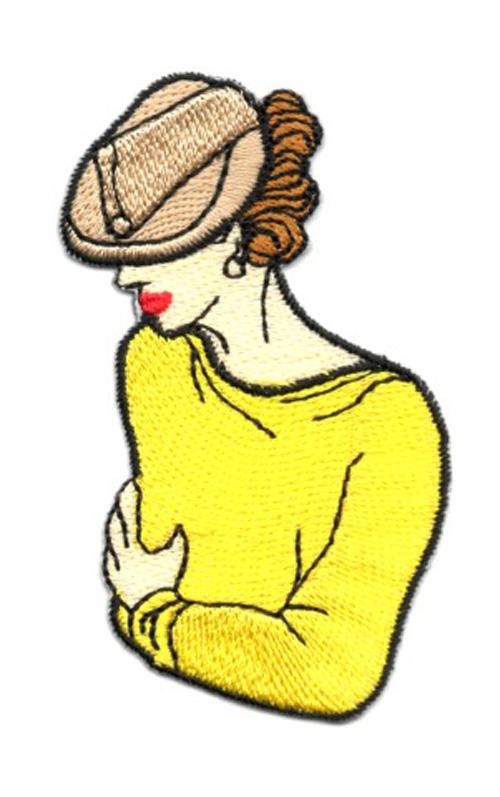 Applikation Patch Frau 4,5 x 7,8cm Farbe: Gelb