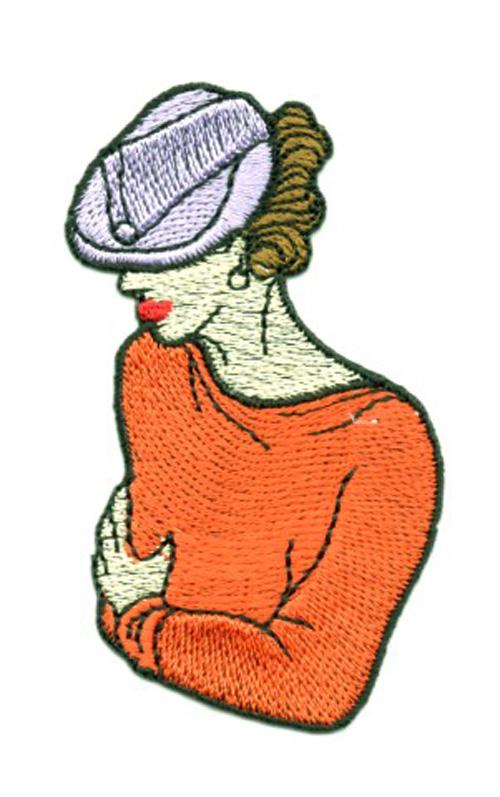 Applikation Patch Frau 4,5 x 7,8cm Farbe: Terracotta