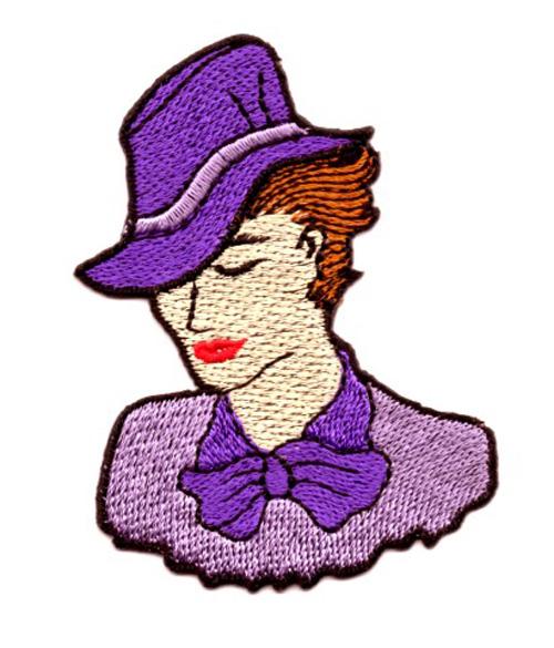 Applikation Patch Frau 5,5 x 7,5cm Farbe: Flieder