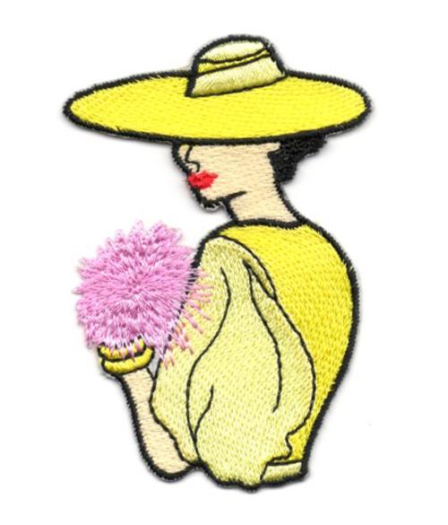 Applikation Patch Frau 5 x 7,8cm Farbe: Gelb