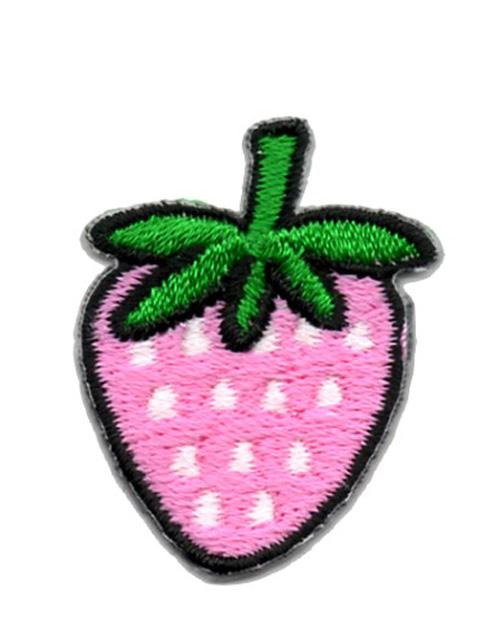 Applikation Sticker Erdbeere Farbe: Pink-Weiss 2,5 x 3,2cm