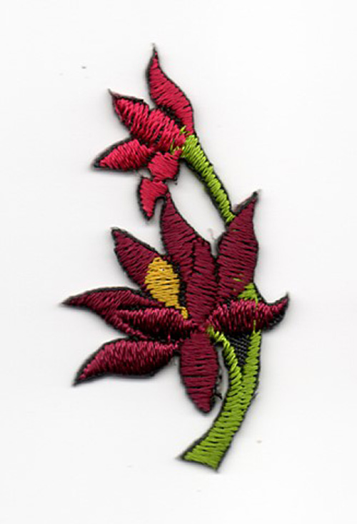 Applikation Sticker Blume 4,7 x 2,6cm Farbe: Bordeaux