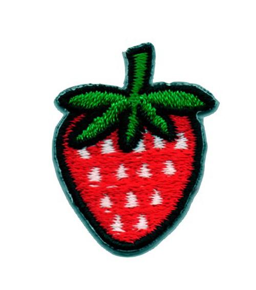 Applikation Sticker Erdbeere Farbe: Rot-Weiss 2,5 x 3,2cm
