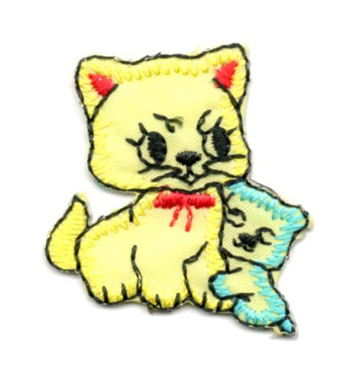 Applikation Sticker Katzenpaar 3,7 x 3,2cm Farbe: Gelb