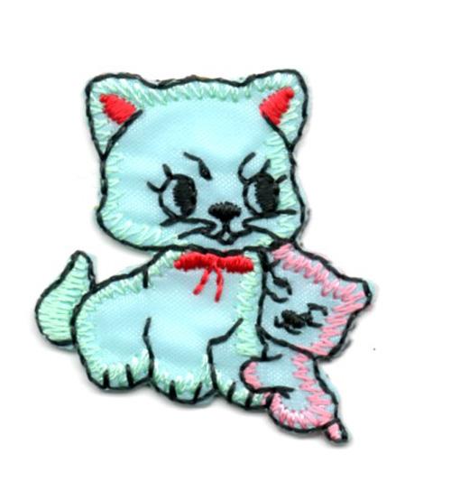 Applikation Sticker Katzenpaar 3,7 x 3,2cm Farbe: Hellgrün