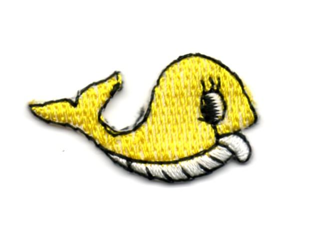 Applikation Sticker Fisch Wal 3,3 x 1,9cm Farbe: Gelb