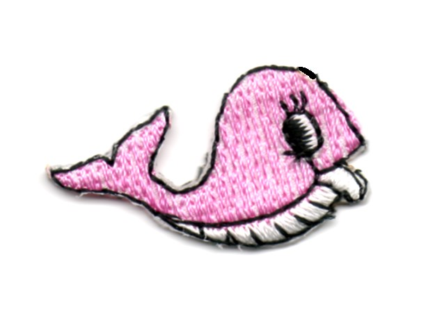 Applikation Sticker Fisch Wal 3,3 x 1,9cm Farbe: Rosa