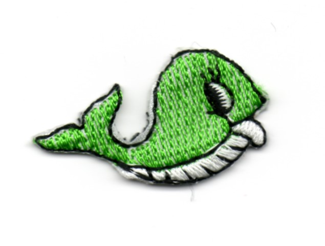 Applikation Sticker Fisch Wal 3,3 x 1,9cm Farbe: Grün