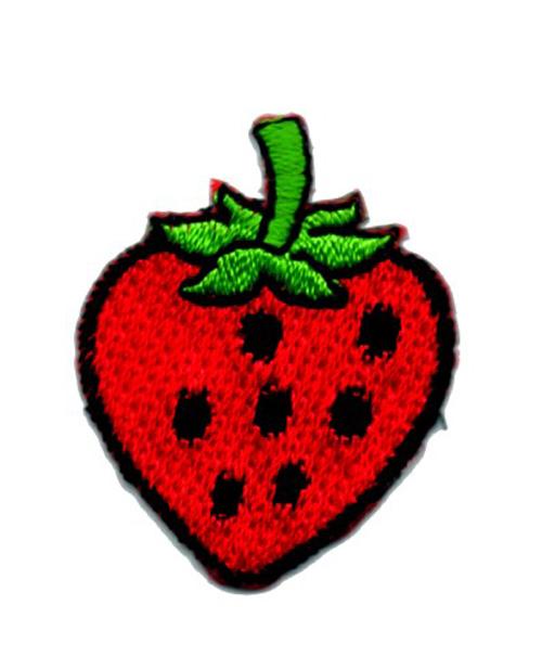 Applikation Sticker Erdbeere Farbe: Rot-Schwarz 3,5 x 3cm