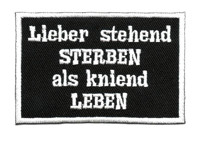"""Applikation Spruch """"Lieber stehend ..."""" 8,5 x 5,5cm"""