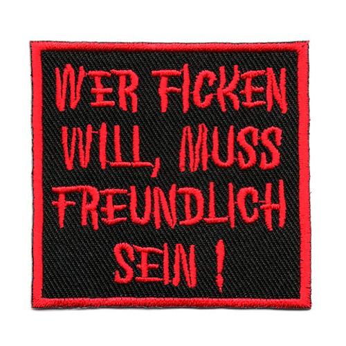 """Applikation Spruch """"Wer fic..."""" 6,2 x 6,6cm"""