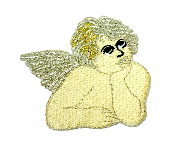 Applikation Patch Engel 5 x 4,5cm Farbe: Beige-Silber