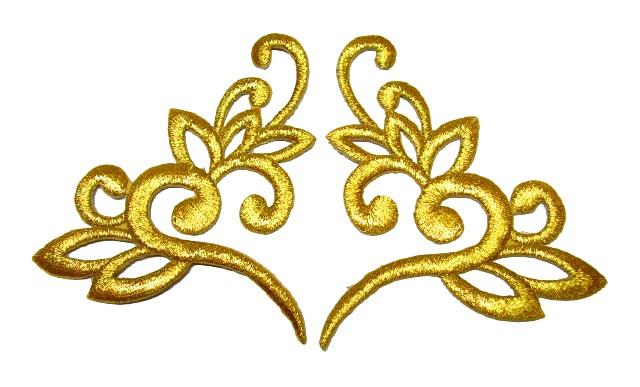 1 Paar Applikationen Tribal Farbe: Lurex-Gold 13 x 7,5cm