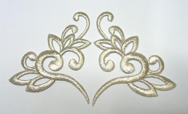1 Paar Applikationen Tribal Farbe: Lurex-Silber 13 x 7,5cm