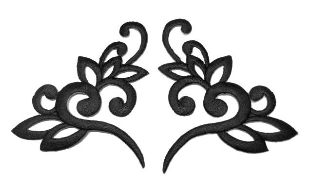 1 Paar Applikationen Tribal Farbe: Schwarz 13 x 7,5cm