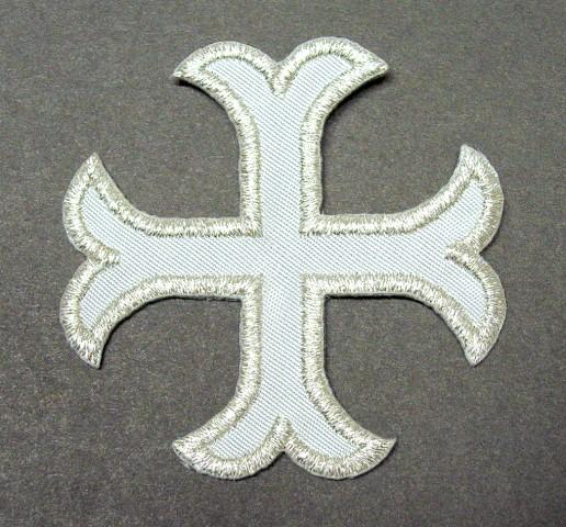 1 Applikationen Kreuz Farbe: Lurex-Silber 5,2 x 5,2cm