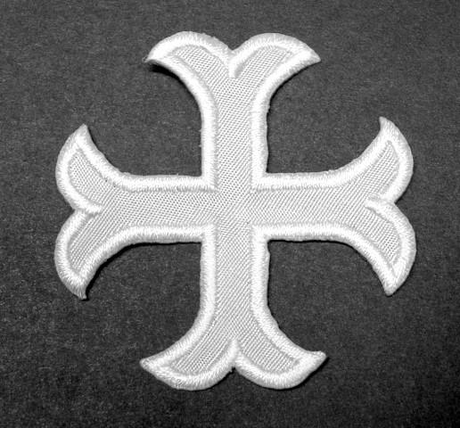 1 Applikationen Kreuz Farbe: Weiss 5,2 x 5,2cm